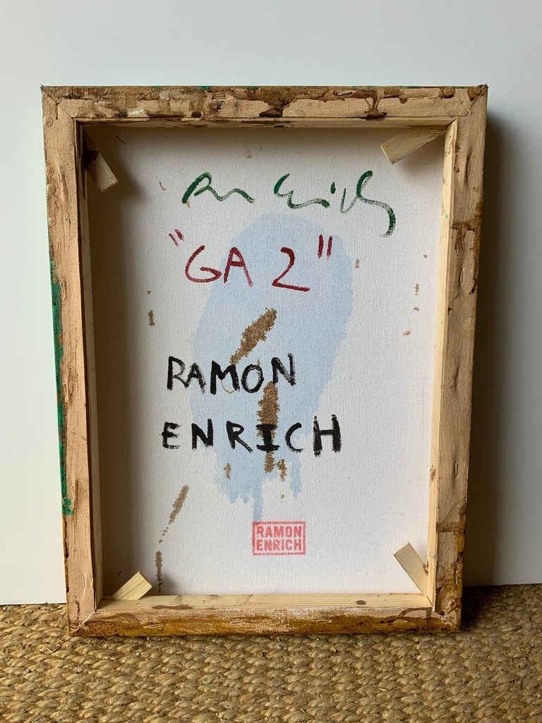 GA-2 by Ramon Enrich - Contemporary Geometric Painting, green & earth tones For Sale 3