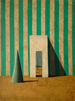 GA-2 by Ramon Enrich - Contemporary Geometric Painting, green & earth tones