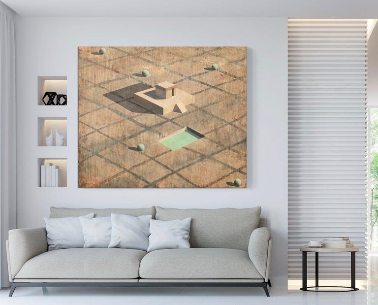 Glo - Contemporary Geometric Landscape Painting For Sale 1