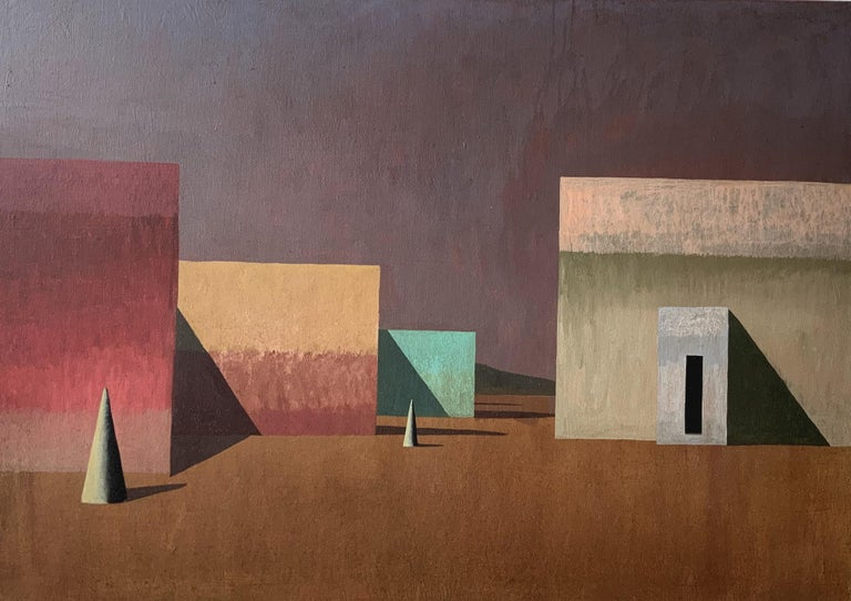 TOL, painting by Spanish contemporary artist Ramon Enrich. Acrylic on canvas, 70 x 100 cm. Signed, sold unframed. Enrich's work revolves around conversation between architecture and landscape, inviting the viewer on a visual stroll through vast and