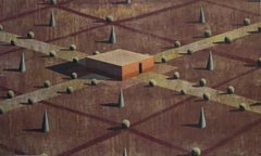 Villa Rosso - Contemporary Geometric Landscape Painting