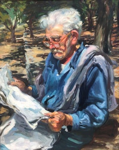 Enriquet reading the newspaper original oil painting canvas Ramon Pichot