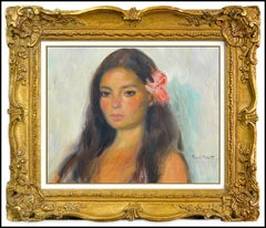 Ramon Pichot Original Oil Painting on Canvas Signed Female Portrait Soler Art