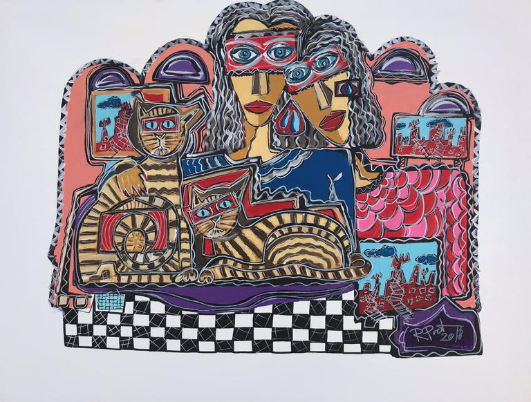 Ramon Poch Abstract Painting - 21 Couple with Cats 115 x 90 cm- original acrylic painting