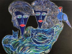 25.-Family in blue acrylic painting