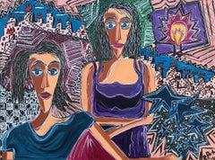 28.-Women wuith light bulb   acrylic painting