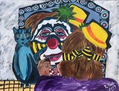 40  Clown make up   original acrylic painting