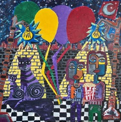 60.-Child with balloons  original acrylic painting