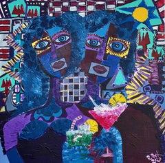 87.-Drinks 92x92 cm original acrylic painting