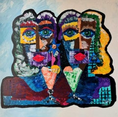 88.-A couple's toast- 130 x 130 cm original acrylic painting