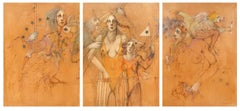 Past, Present and Future, Painting Triptych by Ramon Santiago