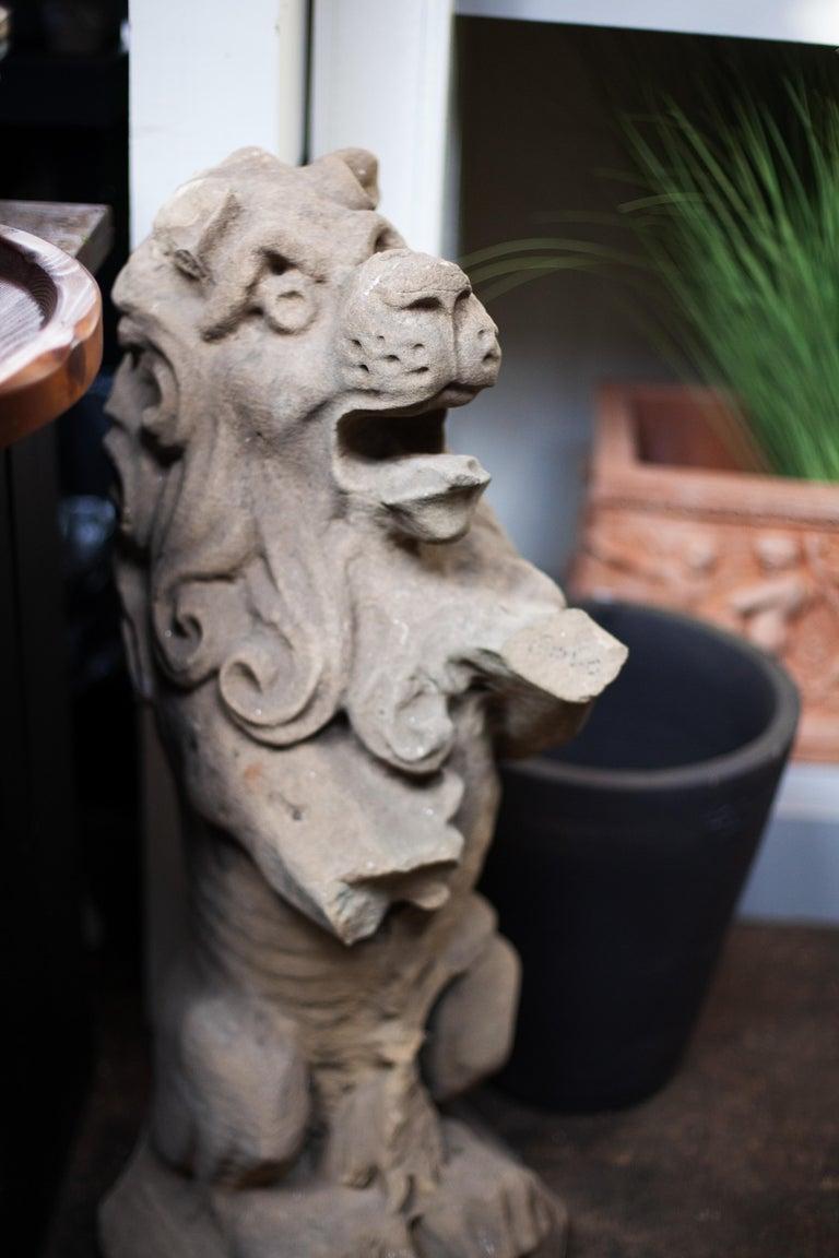 English Rampant Lion Statue For Sale