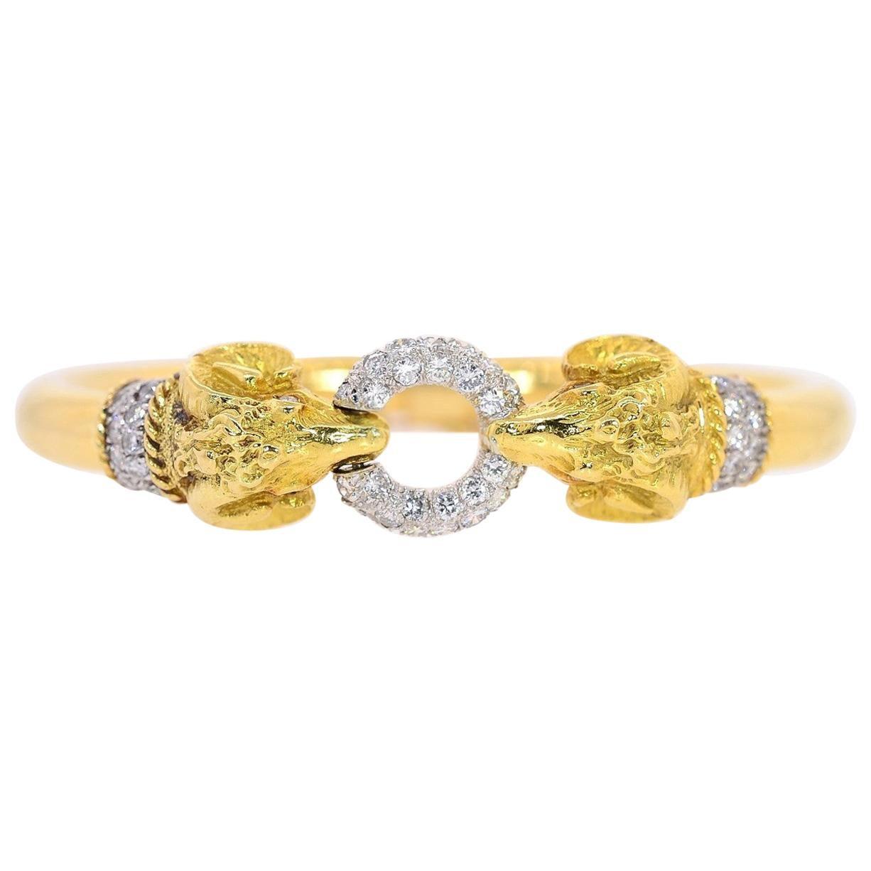 Rams Head Diamond and Gold Bangle/Bracelet