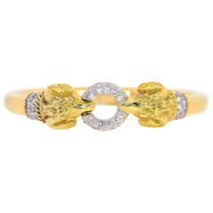Rams Head Diamond and Gold Bangle/Bracelet