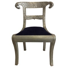 Rams Head Metal Wrapped Anglo-Indian Regency Style Dowry Wedding Chair