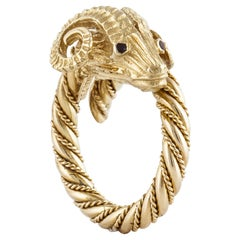 Ram's Head Ring in 18 Karat Yellow Gold