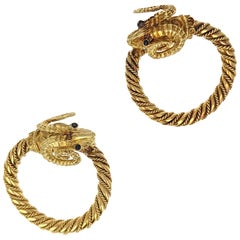 Ram's Head Yellow Gold Hoop Earrings
