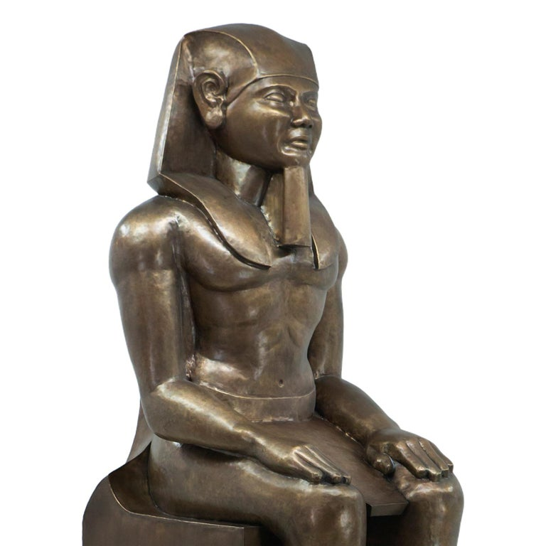 Sculpture Ramses II in hand-beaten antique aged brass. Limited edition.