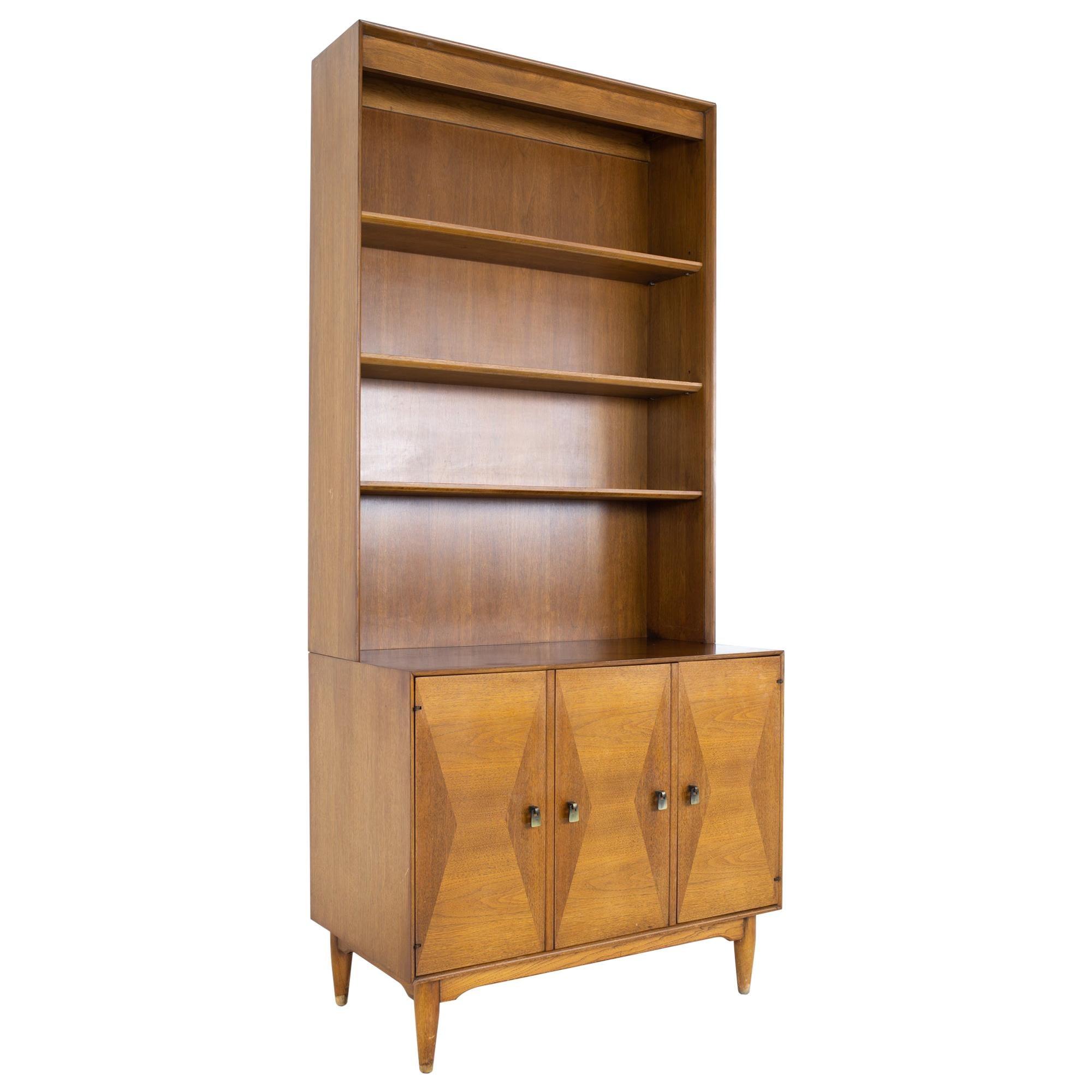 Ramseur MCM Inlaid Walnut Thin Bookcase Sideboard Credenza Buffet and Hutch