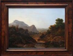 Italian Capriccio - British 19th century art landscape oil painting hills Italy