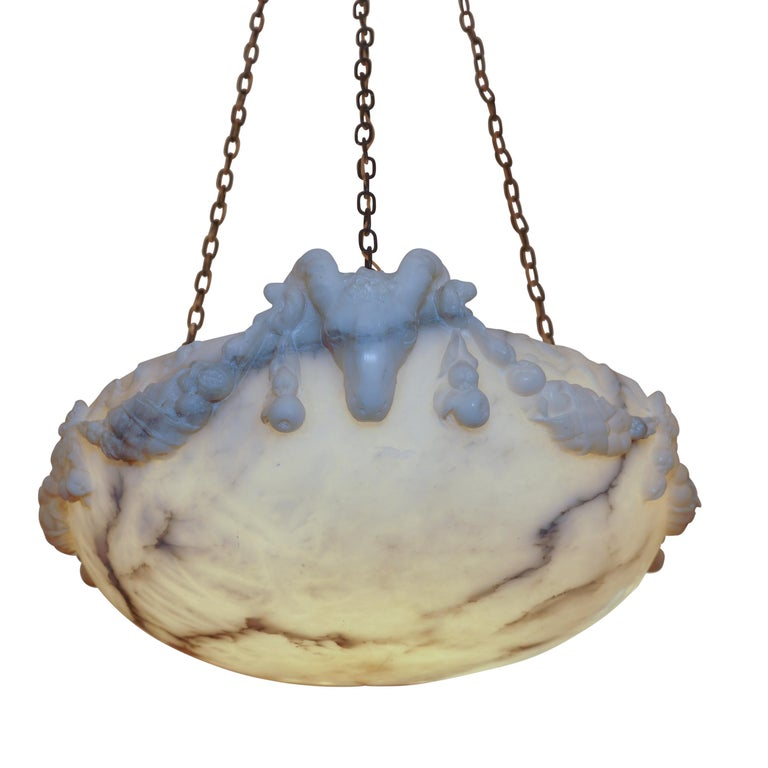 Late 19th Century Ramshead Alabaster Pendant, Sweden, 1890 For Sale