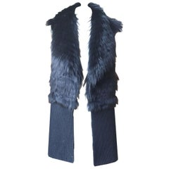 Ramy Brook Fox Fur Trimmed Ribbed Wool Blend Gilet