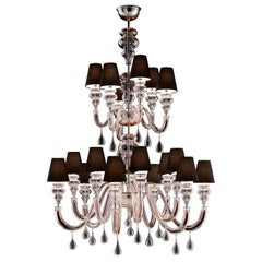 Ran Round 7176 18 Chandelier in Glass with Black Shade, by Barovier & Toso