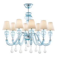 Ran Round 7177 08 Chandelier in Glass with White Shade, by Barovier&Toso