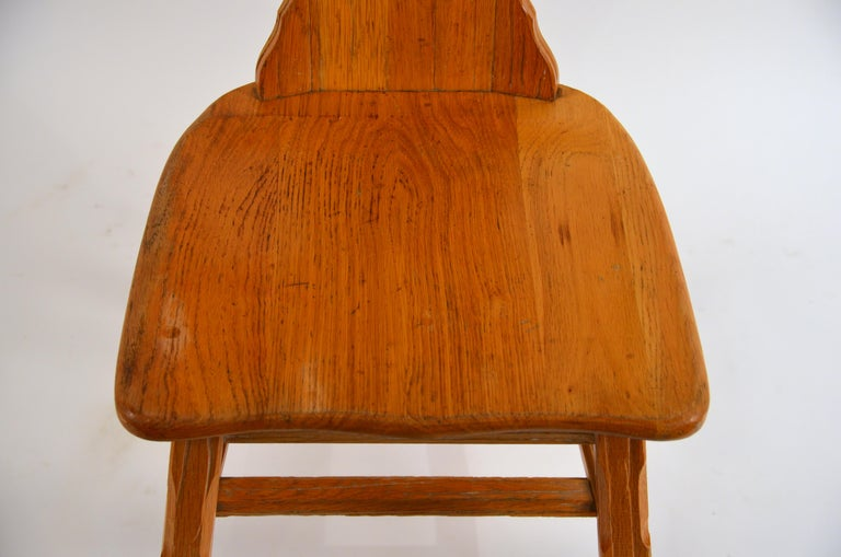 Hand-Carved Ranch Oak Side Chair by A. Brandt Co. For Sale