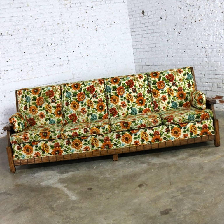 Ranch Oak Western Style Sofa Attributed To A Brandt Company For