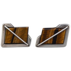 Rancho Alegre Modernist Sterling and Tiger Eye Cuff Links