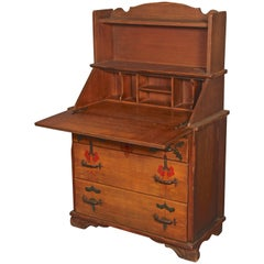 Rancho Monterey Period Secretary Desk with Three Drawers