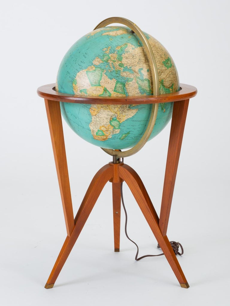 "American Rand McNally ""Cosmopolitan"" Globe with Stand by Edward Wormley For Sale"