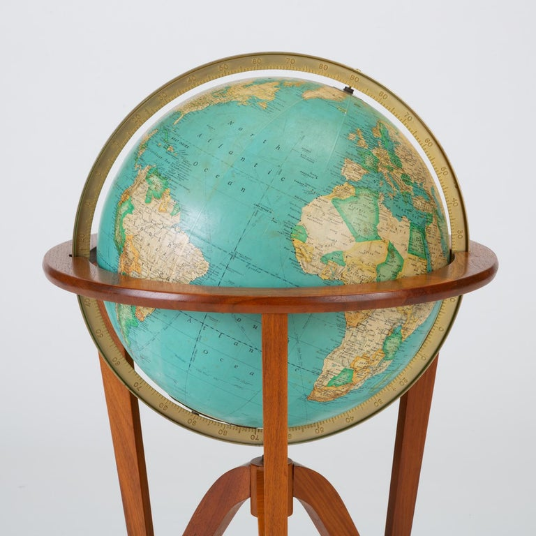 "Walnut Rand McNally ""Cosmopolitan"" Globe with Stand by Edward Wormley For Sale"