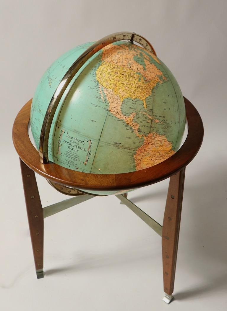 Rand McNally Floor Globe Attributed to Wormley For Sale at