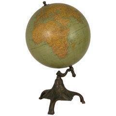 1920s Rand McNally Twelve Inch Terrestrial Globe on Bronze Base