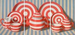 """Coral Triptych"", Randall Browning, Pop Art Still-life, 40x85 in., Original Oil"