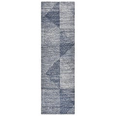 Randall, Contemporary Modern Hand Knotted Runner Rug, Navy