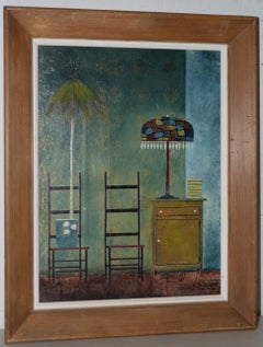 """Randall Davey """"Potted Plant"""" Oil and Collage on Masonite c.1950"""