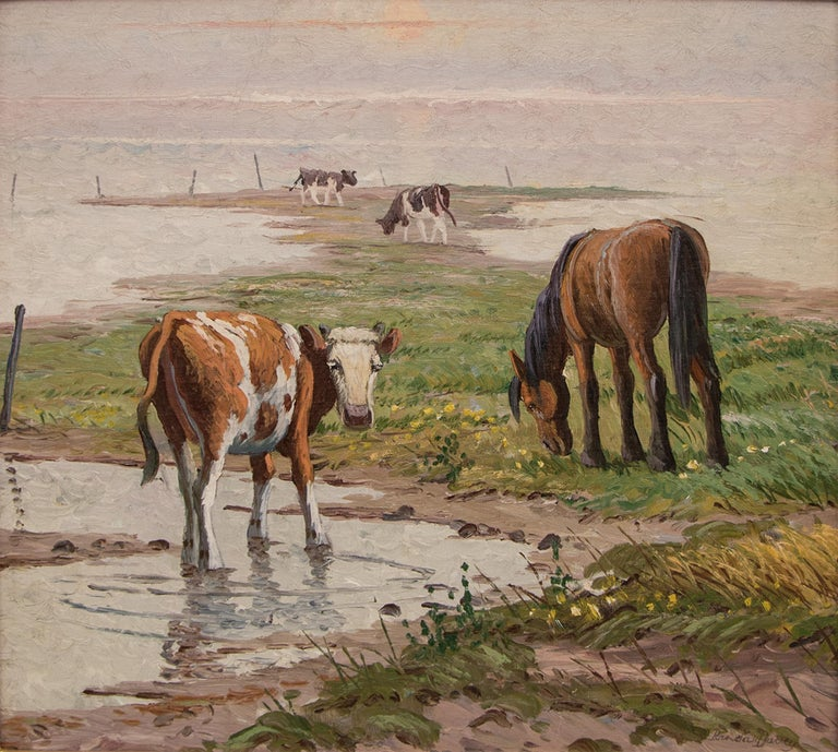 Untitled (Pasture with Horse and Cattle) - Painting by Randall Davey