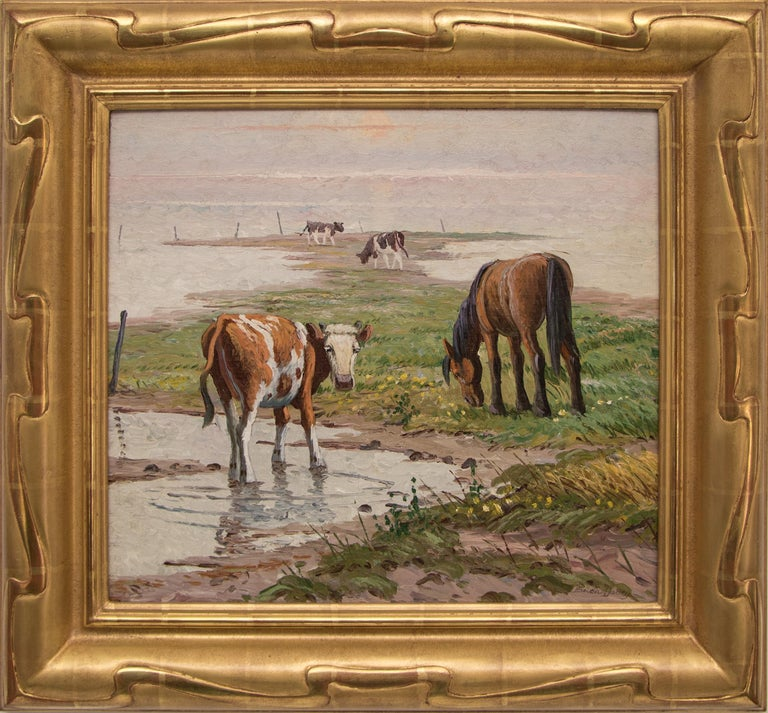 Randall Davey Animal Painting - Untitled (Pasture with Horse and Cattle)