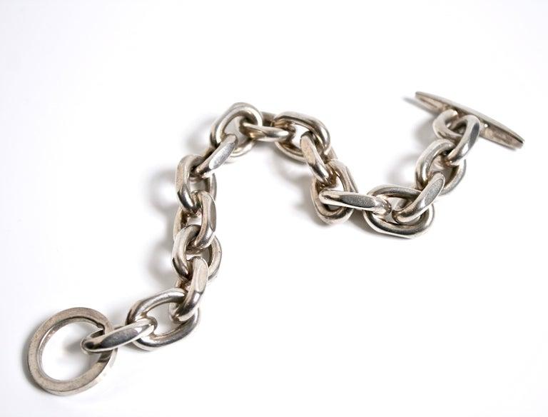 Modernist Randers Denmark Sterling Silver Heavy Chain Bracelet For Sale