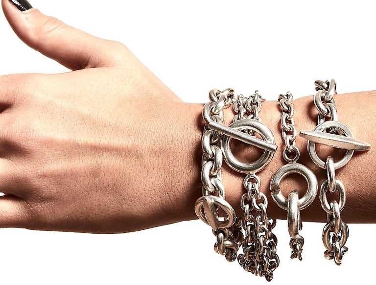 Randers Denmark Sterling Silver Heavy Chain Bracelet In Good Condition For Sale In London, GB