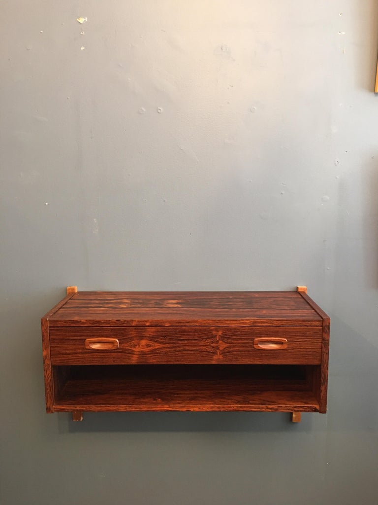 Danish Randers Made in Denmark Rosewood Hanging Console For Sale
