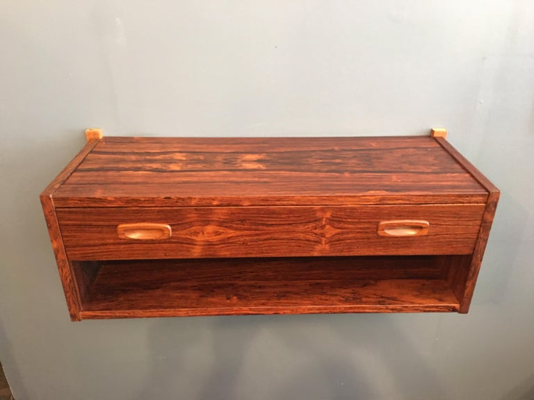 Randers Made in Denmark Rosewood Hanging Console In Good Condition For Sale In Philadelphia, PA
