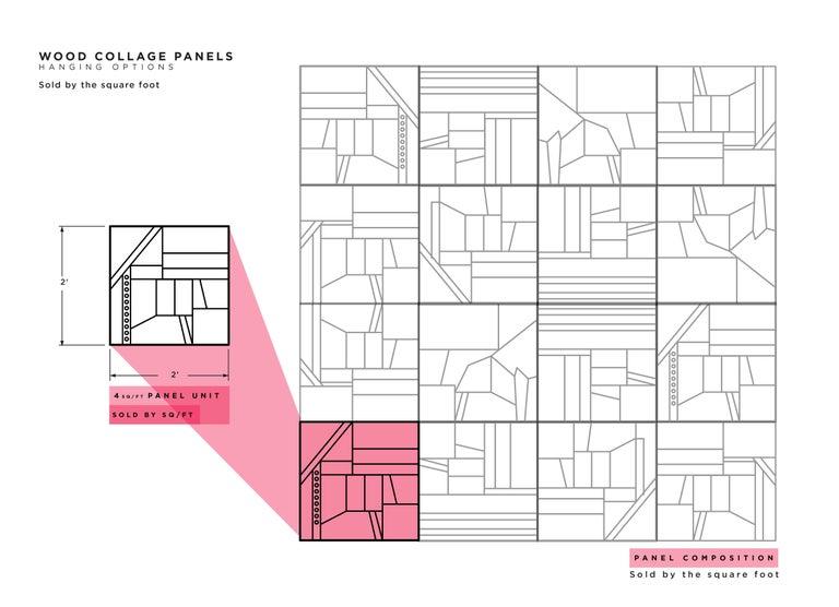 Zufällige Collage Panels, Funktionelle Kunst für die Wand aus Recyceltem Holz 6