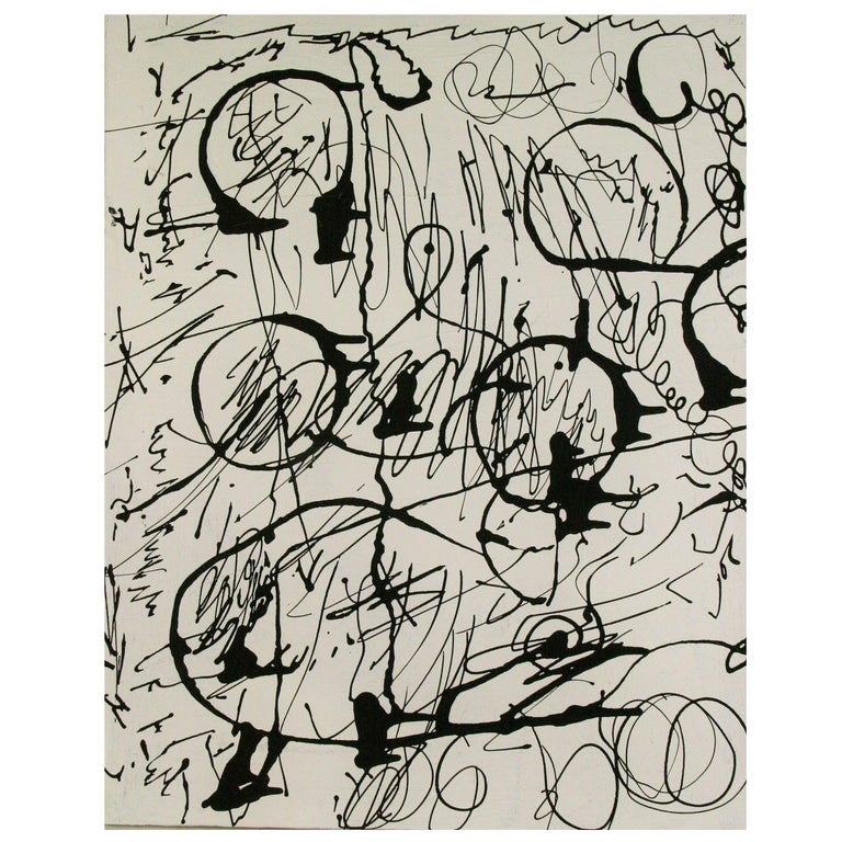 3581 a contemporary abstract expressionist painting in black acrylic on canvas. Signed by Cava.