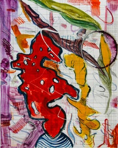 """""""Scholar Rocks 29"""", painterly abstract landscape monoprint, red, yellow, violet."""