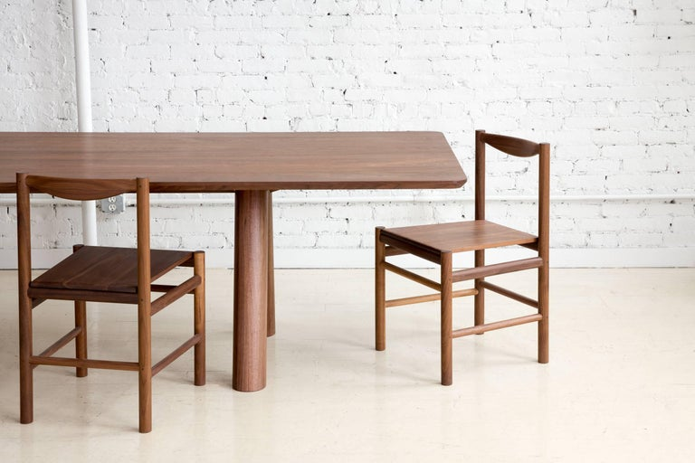 Contemporary Range Dining Chair in Walnut and Leather by Fort Standard, in Stock For Sale