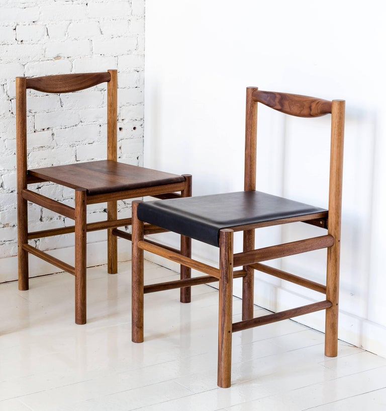 Range Dining Chair in Walnut and Leather by Fort Standard, in Stock For Sale 1